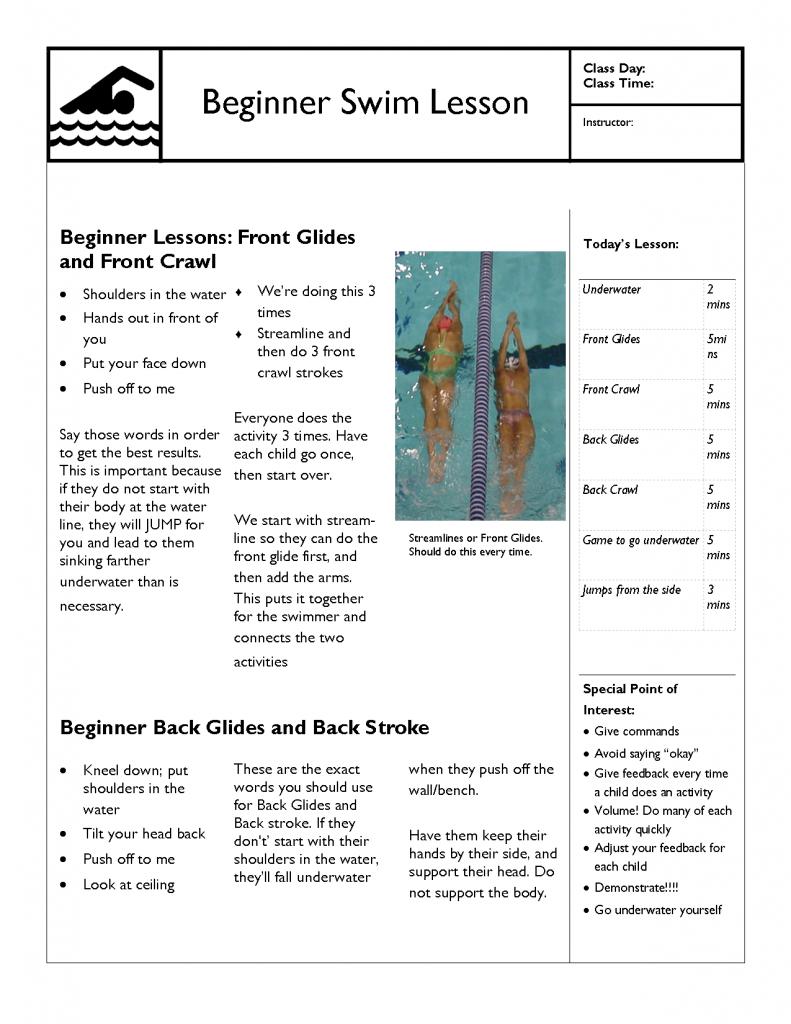 Swim lesson plan beginner lesson template swimming for Sports lesson plan template