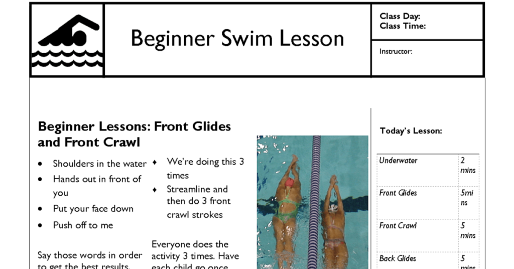 swim lesson plan beginner lesson template swimming lessons ideas