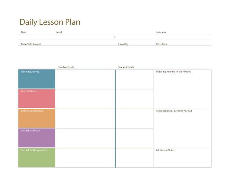 Swim lesson plan general template swimming lessons ideas for Daily five lesson plan template