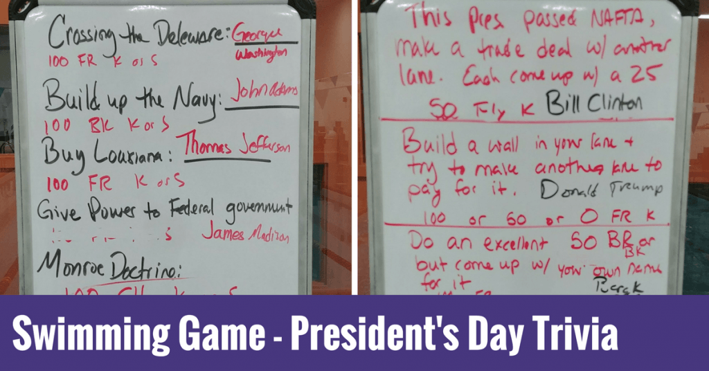 Swimming Game – President's Day Trivia