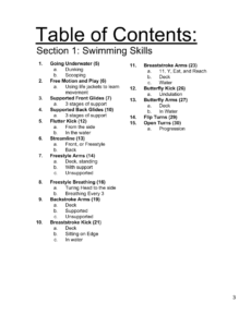 SLI Swim Instructor Workbook Section 1 toc