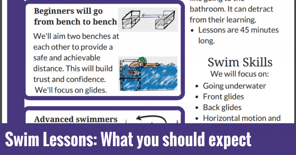 Handout for first day of swim lessons for parents: What to expect